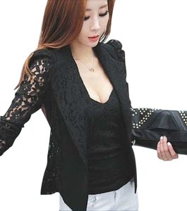 Other Lace Fitted Suit Black Jacket