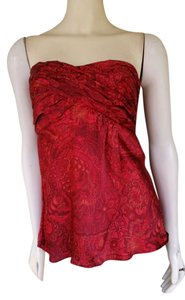 Banana Republic Silk Strapless Top Red