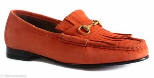 Gucci 351305 Womens Suede Orange Flats