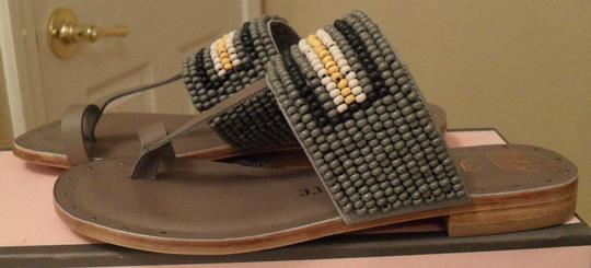 Juicy Couture Camille Beaded Leather Toe Thong Size 6 6 Mulit-color Bead Accents Multi-colored Gray Sandals