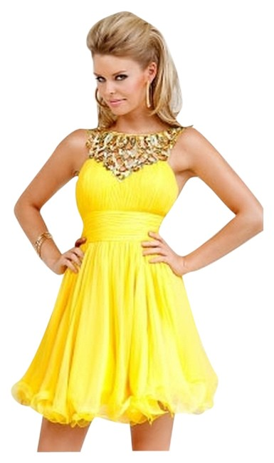 Preload https://img-static.tradesy.com/item/133508/jovani-yellow-wgold-sequin-cocktail-short-formal-dress-size-18-xl-plus-0x-0-2-650-650.jpg