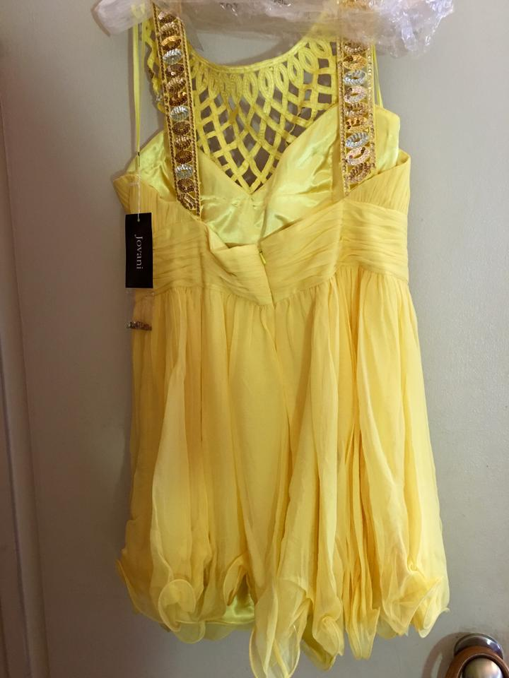 19fc9a62838 Jovani Yellow W Gold Sequin Cocktail Short Formal Dress Size 18 (XL ...