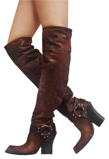 Dior Cowboy Over Knee Thigh High Leather Weathered Distressed Cowboy brown Boots