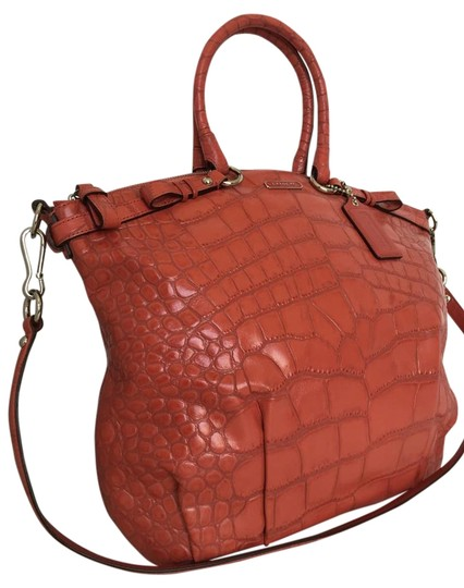 Coach Leather Madison Large Orange Embossed Satchel in Geranium