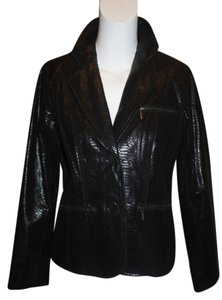 Bradley Bayou Edgy Sexy Tonol Metallic Zippers Versatile Embossed Leather Hip Cool Fun Black Blazer