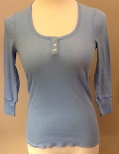 Splendid Cotton 3/4 Sleeves Ribbed T Shirt Light Blue