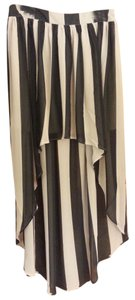 Forever 21 Hi Lo Striped Maxi Skirt Taupe/Black