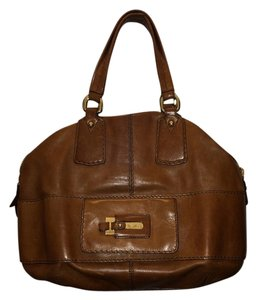 Max Mara Designer Leather Satchel in Brown