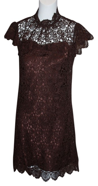 Preload https://img-static.tradesy.com/item/1335582/milly-brown-pretty-dainty-feminine-delicate-embroidered-lace-scalloped-above-knee-cocktail-dress-siz-0-0-650-650.jpg
