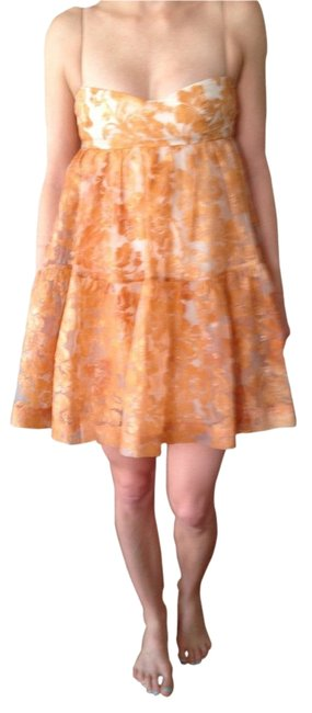 Preload https://item4.tradesy.com/images/peach-tiered-organza-brocade-above-knee-night-out-dress-size-4-s-1335658-0-0.jpg?width=400&height=650