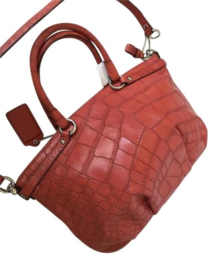 Coach Leather Madison Embossed Satchel in Geranium ORANGE RED