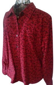Talbots Floral Preppy Classic Casual Button Down Shirt red,black