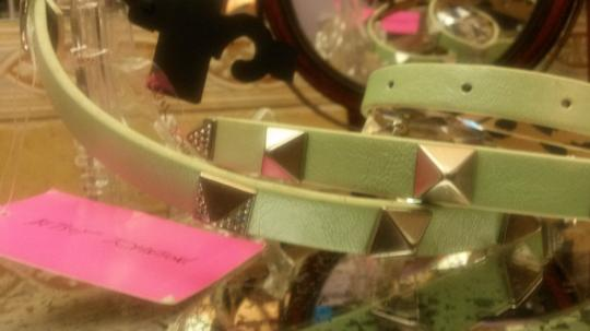 Betsey Johnson Mint Green pu leather crystal pyramid cone studs