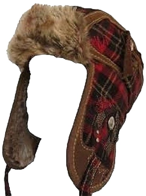 Item - Red Black & Brown Brand Headware Wool Leather Faux Fur Plaid Trapper Helmet S/M Hat