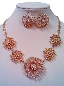 Bold Elements Bold Elements Antiqued Gold Pearl Web Medallion Necklace & Earring Set