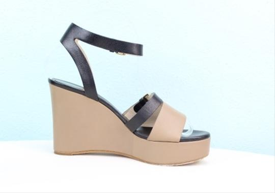 Chloé Chloe Wedge Leather Taupe And Black Sandals