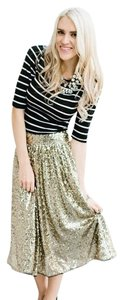 Ampersand Avenue Holiday Skirt Gold Sequin