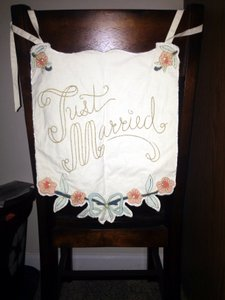BHLDN Multicolor Here Comes The Bride/Just Married Banner Ceremony Decoration