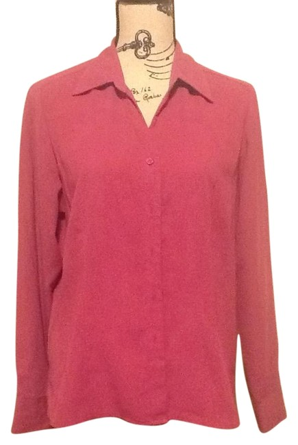 Apparenza Longsleeve Button Down Loose Fitted Casual Office Top Magenta