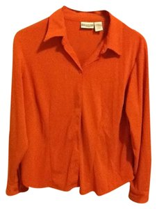 Investments Petites Button Down Longsleeve Comfortable Loose Fitted Office Top Orange
