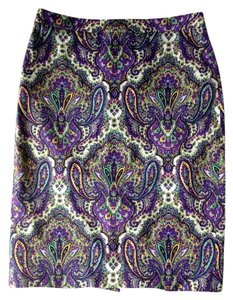 J.Crew Pencil Skirt Purple Paisley