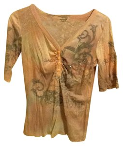 One World Half Sleeve Sequins Pullover Soft Comfortable Buttons Top Peach