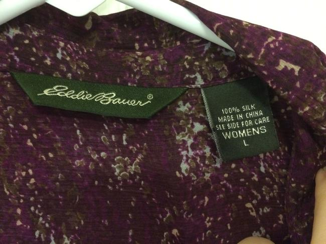 Eddie Bauer Top Burgundy Multi