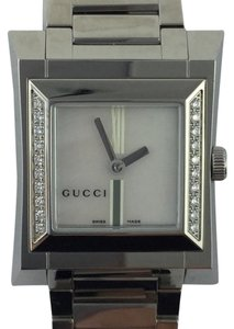 Gucci Gucci YA111504 111 Women's Square Pearl Dial Diamond Dress Watch