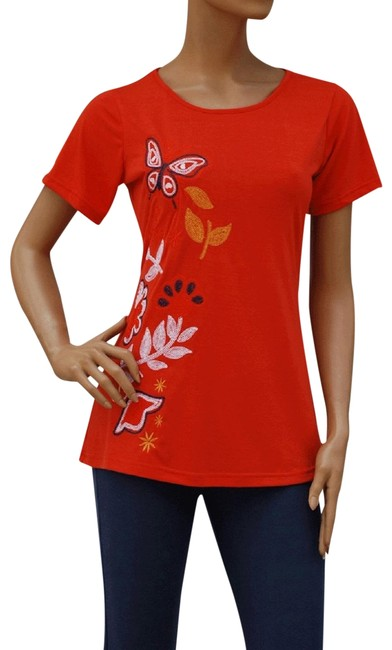 Red Butterfly and Flower Embroidered Shirt Top. Stretch Fit. Blouse Size 22 (Plus 2x) Red Butterfly and Flower Embroidered Shirt Top. Stretch Fit. Blouse Size 22 (Plus 2x) Image 1