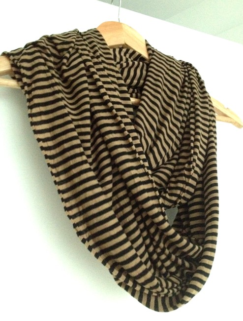 Item - Black Brown Soft Infinity Knit Viscose Long Striped Cowl Scarf/Wrap