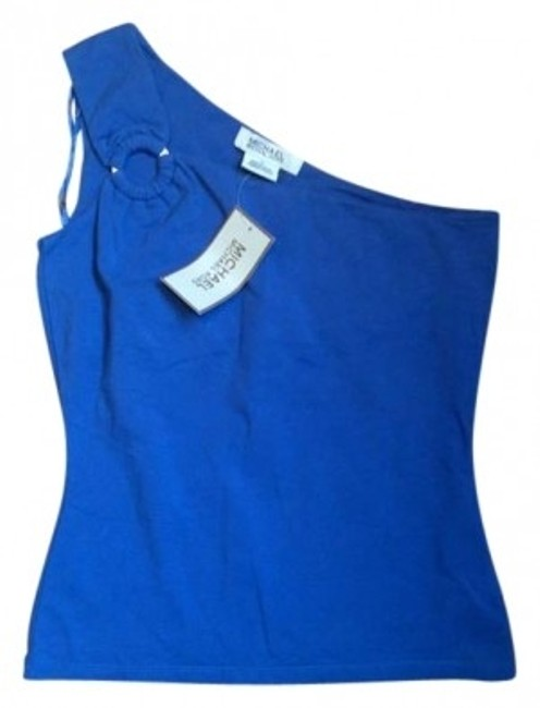 Preload https://img-static.tradesy.com/item/133685/michael-kors-blue-new-one-shoulder-tank-topcami-size-4-s-0-0-650-650.jpg