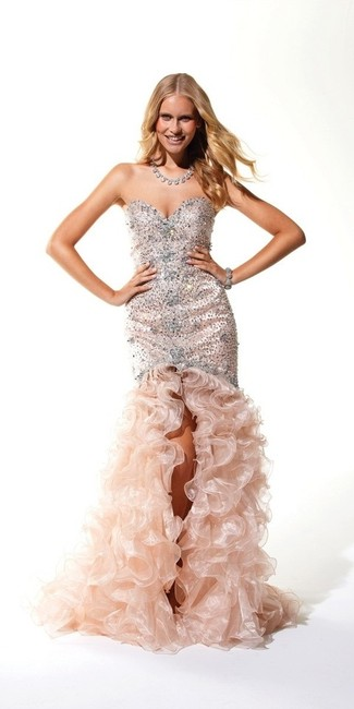 Terani Couture Terani Strapless Beaded Embellished Ruffled Train Dress