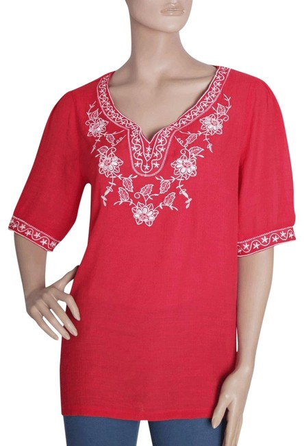 Red Embroidered Tunic with Floral and Stars Design Blouse Size 26 (Plus 3x) Red Embroidered Tunic with Floral and Stars Design Blouse Size 26 (Plus 3x) Image 1