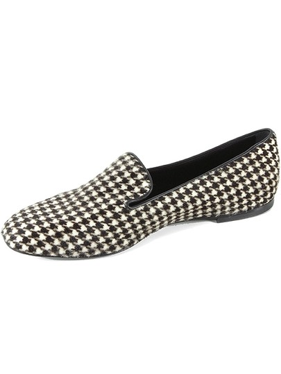 Roger Vivier Hound Houndstooth Ponyhair Calfskin Fur Slippers Oxford Piping Classic Ballerina Brown, White, Black Flats