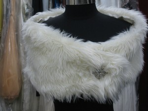 Other Faux Fur Ivory Mongolian Wrap* - Size Small
