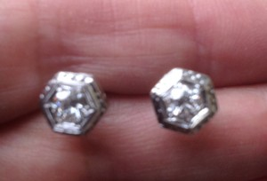 Octagonal Diamond Octagonal 18kt white gold diamond earring Edwardian old European cut