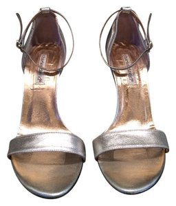 Charles David Ankle Stap Leather Silver Sandals