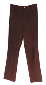 Ralph Lauren Jean Style Leather Suede Rl Black Label Straight Pants British tan
