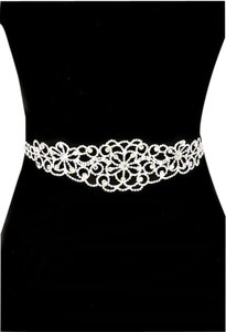 Rhinestone Bridal Sash 3 IN 1 FLOWER CUT OUT CRYSTAL SASH BRIDAL VERSATILE BELT