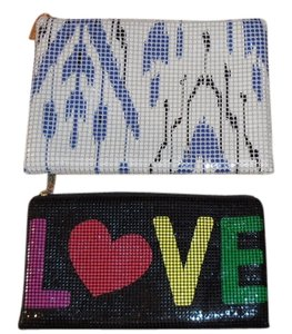 "Felix Rey FELIX REY METAL MESH GORGEOUS COSMETIC BAGS, ONE SAD"" LOVE"" AND HAPPY FACE, SECOND CLASSY COLORS"