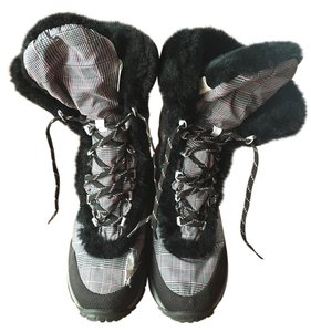 The North Face Snow Black white herringbone Boots