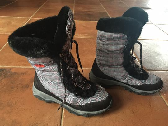 The North Face Winter Black white herringbone Boots
