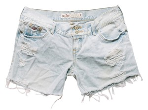 Hollister Skater Denim Cut Off Shorts Light Blue
