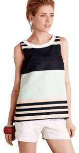 Anthropologie Back Detail Summer Striped Top Green, Blue, White, Tan