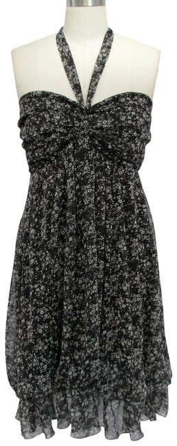 Black Sweet Printed Design and Pleated Bust Chiffon Sundress Halter Top Size 12 (L) Black Sweet Printed Design and Pleated Bust Chiffon Sundress Halter Top Size 12 (L) Image 1