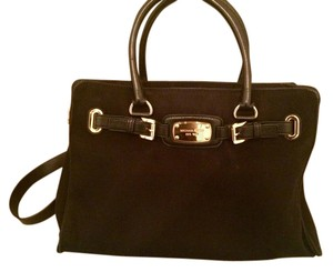 Michael Kors Iconic Stylist Gold Leather Accent Satchel in Black