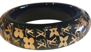 Louis Vuitton LOUIS VUITTON 61 INCLUSION BLACK W/GOLD LV BRACELET BANGLE