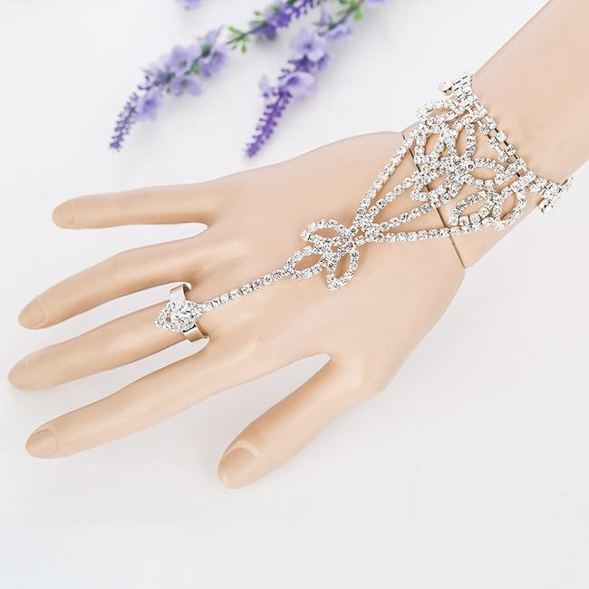 Clear Crystal Flower Gloves Image 1