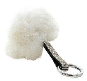 Other White Pom Pom Genuine Fur Rhinestone Crystal Bag Charm Key Chain