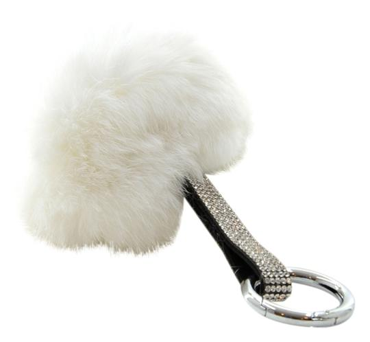 Preload https://img-static.tradesy.com/item/13375288/white-silver-clear-pom-pom-genuine-fur-rhinestone-crystal-bag-charm-key-chain-0-1-540-540.jpg